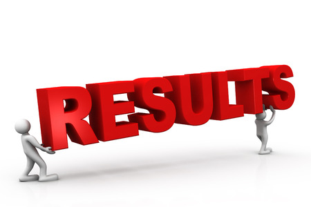 positivist: Tow people holding results , business concept  Stock Photo