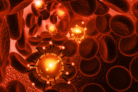 infected: Red Blood cells with virus, Bacteria 3d illustration