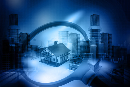 magnified: House search , real estate concept