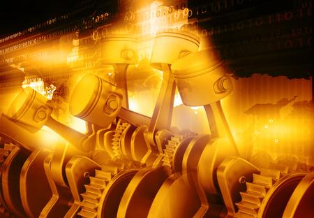 3D-Engine Kolben und Zahnräder Hintergrund
