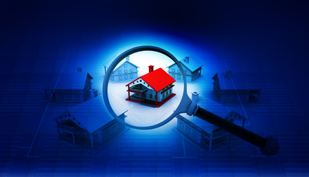 home inspection: Real estate concept , house search   Stock Photo