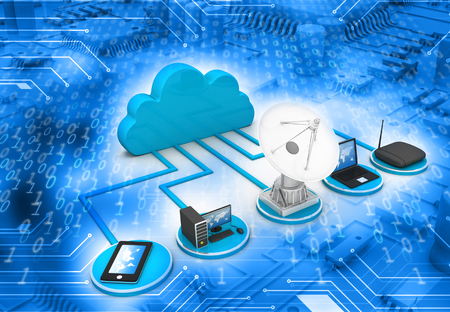 remote access: Cloud computing concept on abstract tech background    Stock Photo