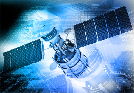 radio beams: Communication satellite on technology  background