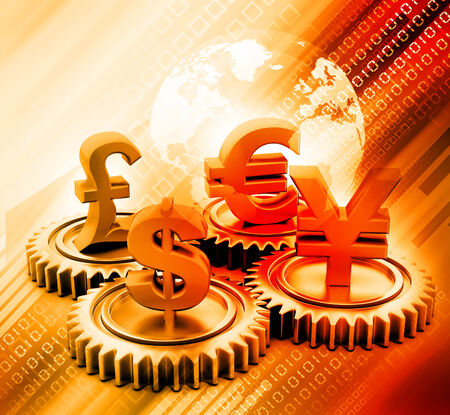 making earth: 3d gear with global currency on abstract background