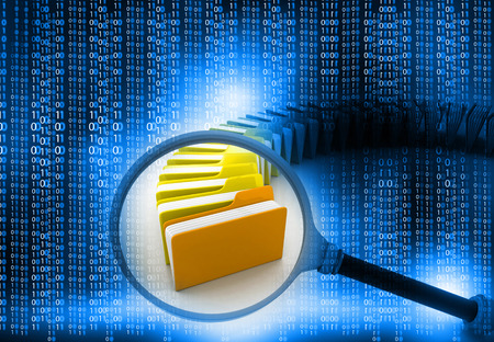 binary data: folder search concept, technology background   Stock Photo
