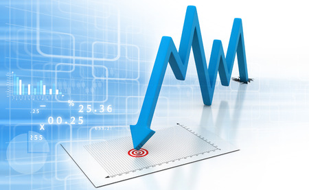 and decline: Arrow Graph showing business decline  Stock Photo