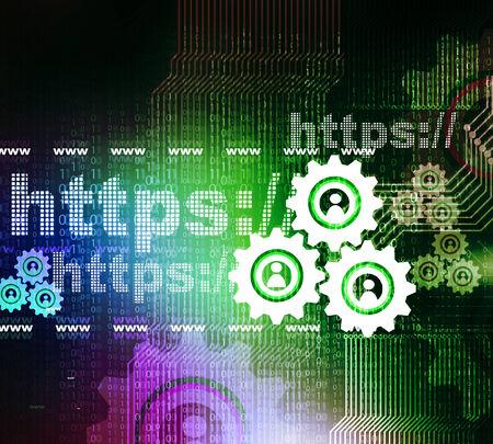 Https with cog wheels , Web design concept  photo