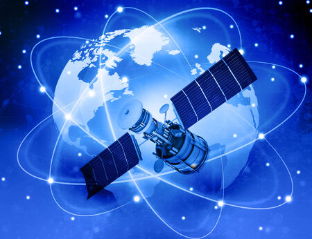 Satellites connection and  earth  background photo