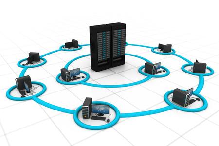 コンピューター ネットワークとインターネットの通信 写真素材