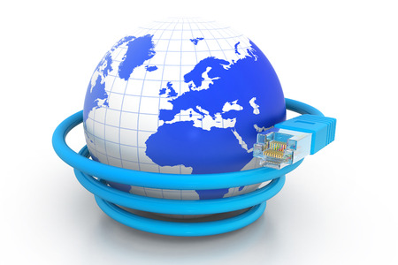 internet globe: World with network cable, Global communication.