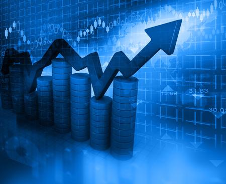 추상 파란색 배경에 비즈니스 그래프