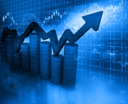 stock market graph: Business Graph on abstract blue background