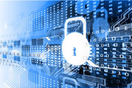 protegido: Concepto de seguridad cibern�tica, placa de circuito con candado cerrado