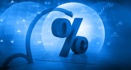 interests: Moving arrow with percentage symbol  on abstract blue background