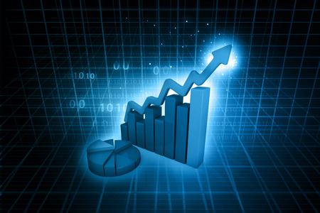 Business Graph on abstract blue background  photo