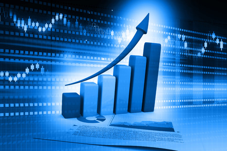 economical: Business Graph on abstract blue background Stock Photo