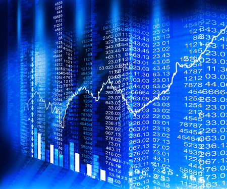 추상 파란색 배경에 주식 시장 그래프