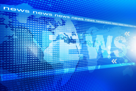display screen: words News on digital blue background  Stock Photo