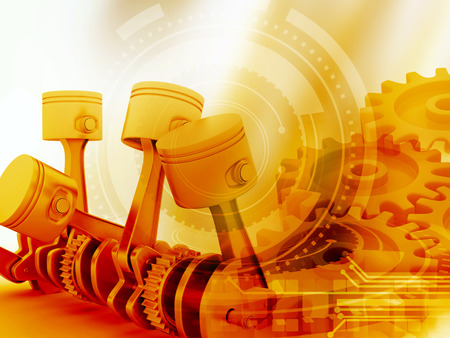 3d engine pistons and cog wheels background