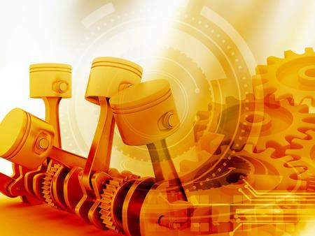 Pistons de moteur 3D et roues dentées fond
