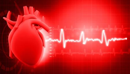 Coração humano em fundo de ciência