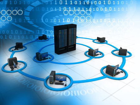 telecommunication equipment: Computer Network and internet communication concept  Stock Photo