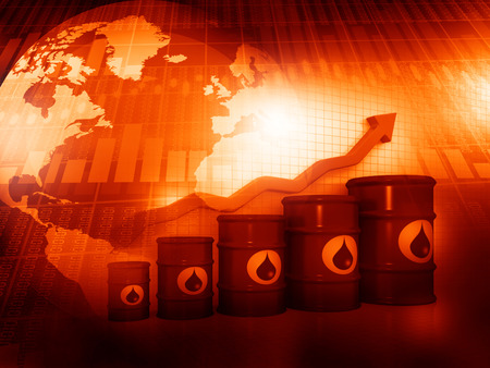 Increasing oil price, oil barrels with arrow graph