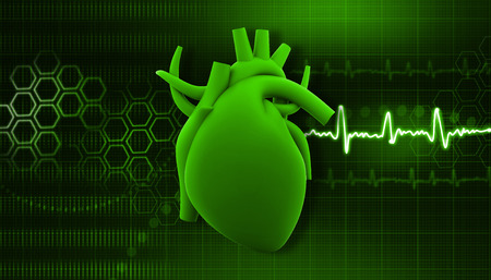 stress test: Human heart on science  background   Stock Photo