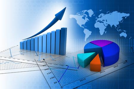 株式市場のグラフと棒グラフのビジネス
