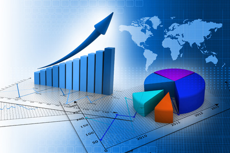 world market: Stock Market Graph and business Bar Chart
