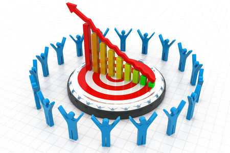 3d business people with financial graph Stock Photo