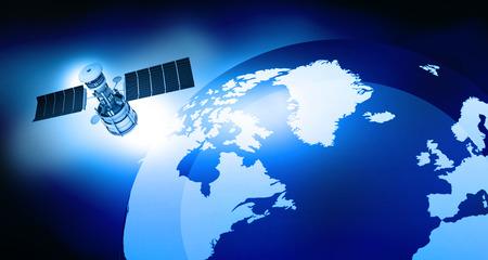 transmitting: 3d render of satellite is orbiting the Earth