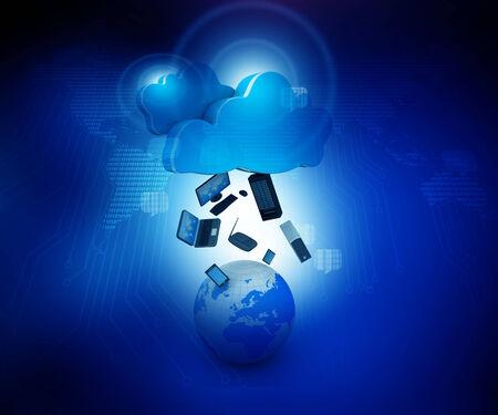 infraestructura: 3d rinden de Cloud computing concepto de diseño Foto de archivo