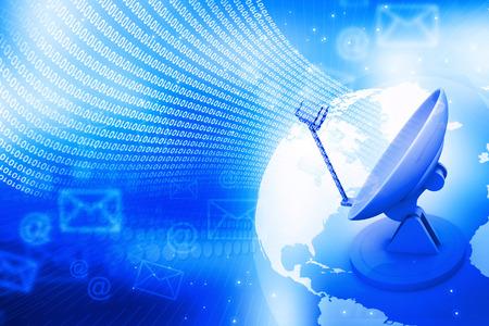 data transmission: transmission data concept , Satellite dish and world