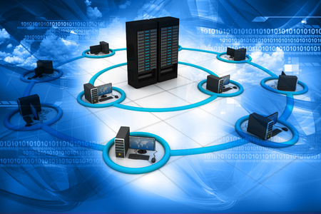 3d render of Computer Network and internet communication concept 스톡 콘텐츠