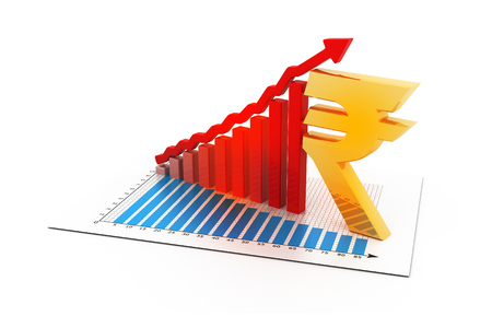 rupee: Business graph with Indian rupee sign