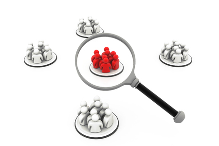 focus group: Focus Group. People with Magnifying glass Stock Photo