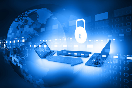 Concepto de seguridad cibernética, placa de circuito con candado cerrado Foto de archivo - 34006874