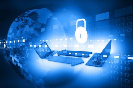 Cyber security concept, printplaat met gesloten hangslot