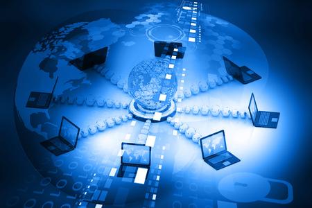 컴퓨터 네트워크 및 인터넷 통신 개념 스톡 콘텐츠