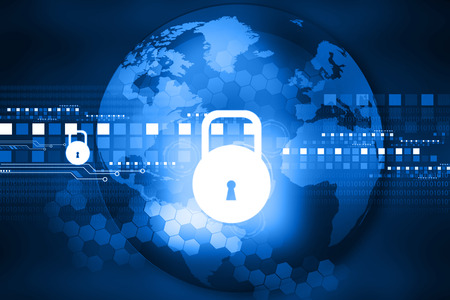 world security: Cyber security concept, circuit board with Closed Padlock