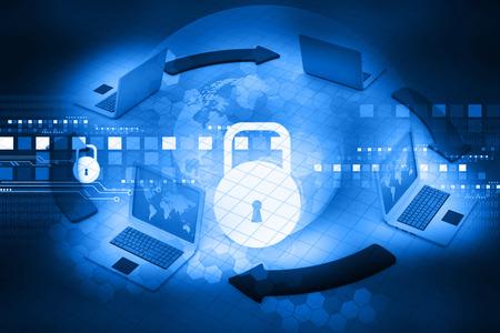 Cyber ??beveiligingsconcept, printplaat met gesloten hangslot