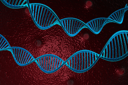 high scale: 3d render of DNA molecules