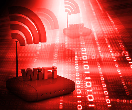 computer networking: Wifi internet router switch modem on abstract red  binary background