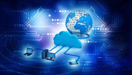 3d rinden de dispositivos electrónicos con servidor de la nube