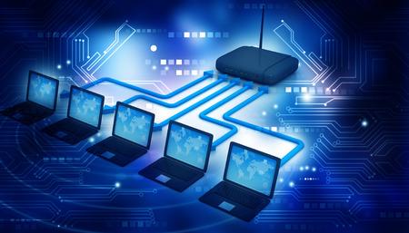 via: internet via router on laptops Stock Photo