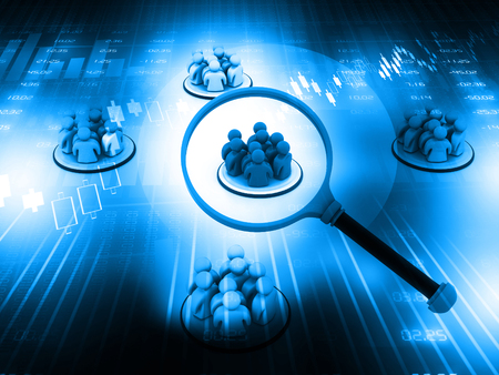 honing: Focus Group. People with Magnifying glass on blue background Stock Photo