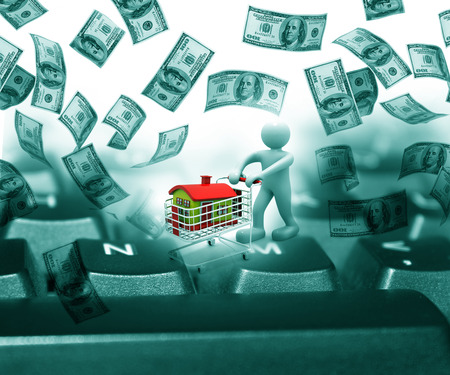finance background: Finance background with dollar and  online shopping Stock Photo