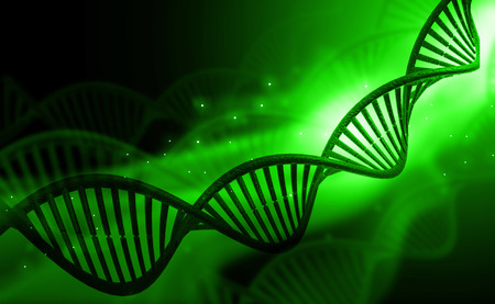 genomes: DNA molecules on green  background