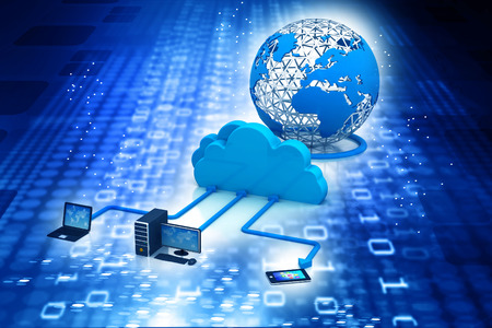 remote access: Cloud computing concept on abstract blue binary background Stock Photo